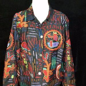 Chico's Design Black Silk Jacket Aztec 2 L